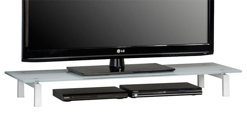 TV-Board Maja 1605 Lowboard Metall weiß mit Weißglas