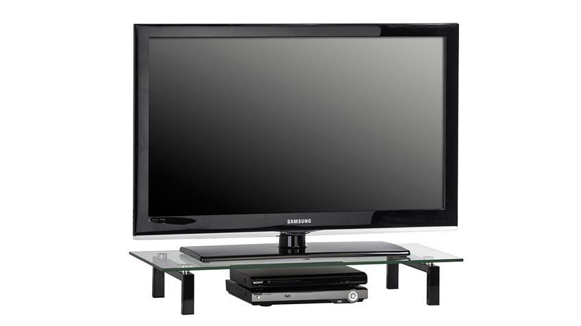 TV-Board Maja 1603 Lowboard Metall schwarz mit Klarglas