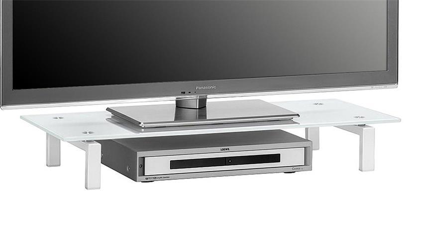 TV-Board Maja 1603 Lowboard Metall weiß mit Weißglas