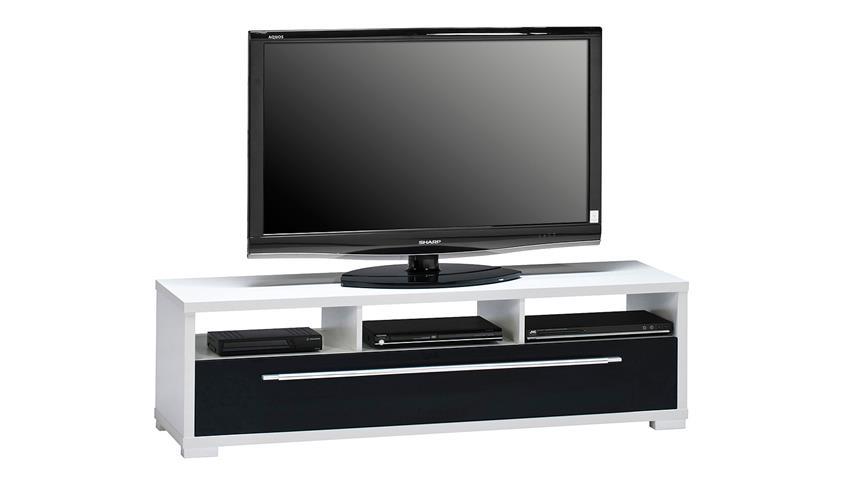 Lowboard Maja 7645 TV-Board weiß schwarz Hochglanz