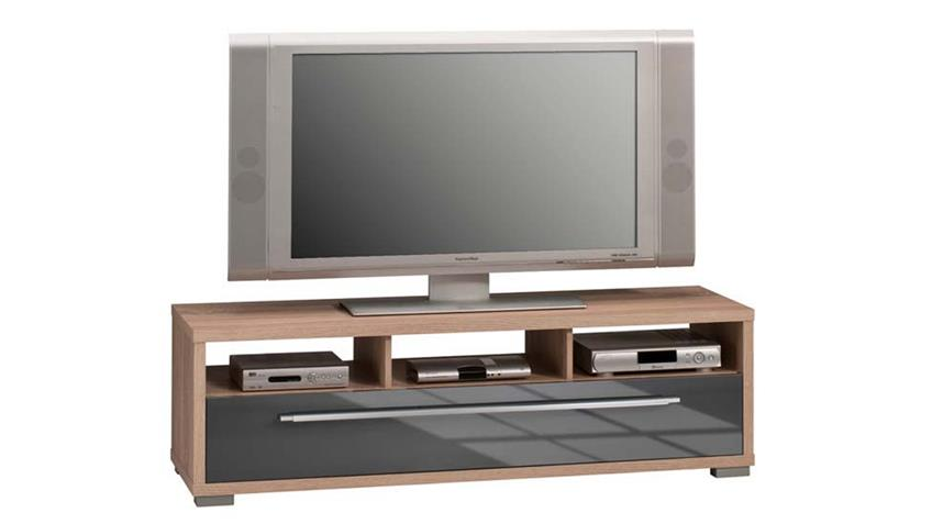 lowboard maja 7645 tv board sonoma eiche grau hochglanz. Black Bedroom Furniture Sets. Home Design Ideas