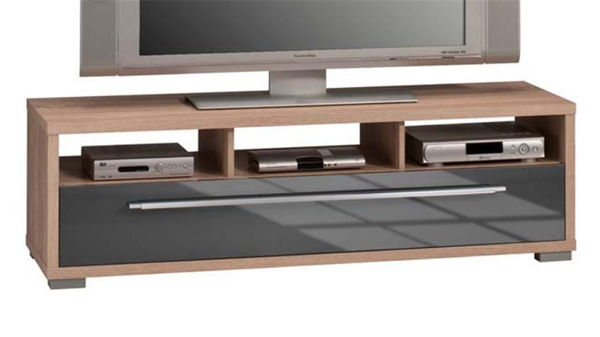 Lowboard Maja 7645 TV-Board Sonoma Eiche grau Hochglanz