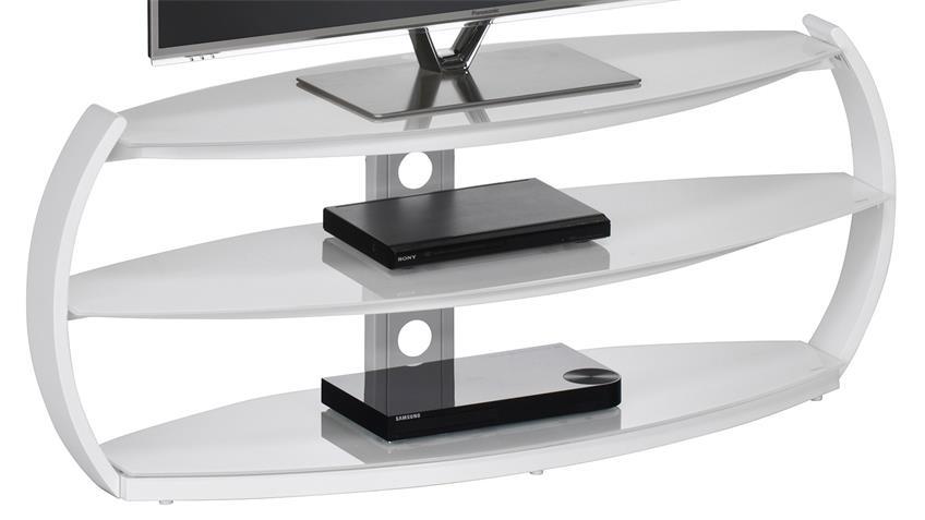 TV-Rack Maja 1626 TV-Board in weiß mit Weißglas