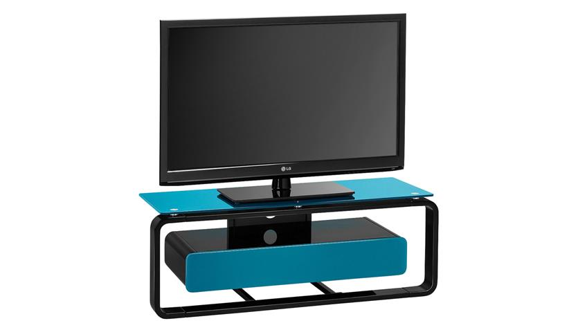 TV-Board Maja 1257 schwarz Hochglanz lackiert Glas petrol