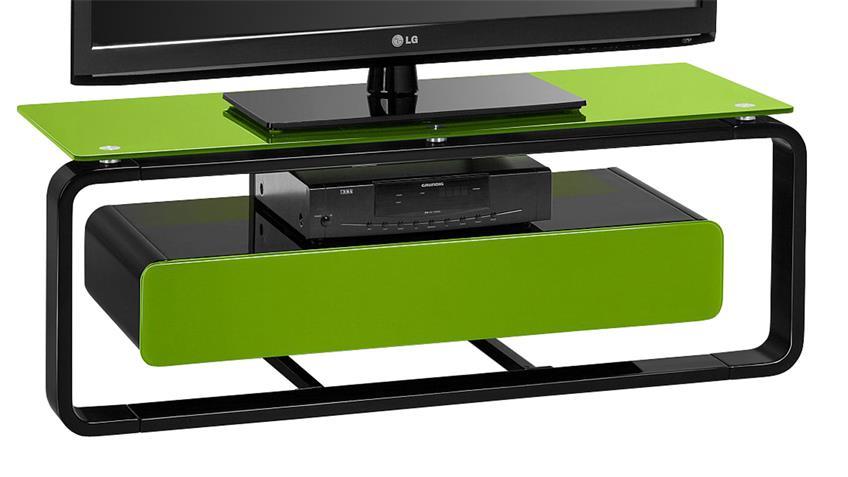 TV-Board Maja 1257 schwarz Hochglanz lackiert Glas grün