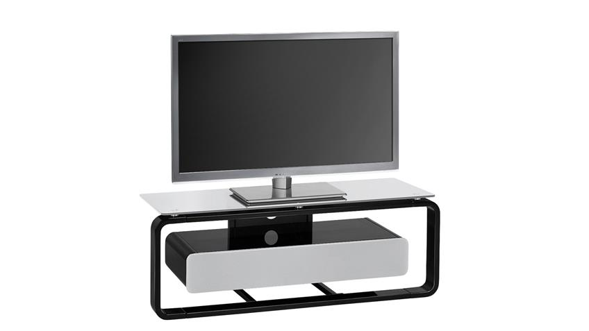 tv board maja 1257 schwarz hochglanz lackiert glas grau. Black Bedroom Furniture Sets. Home Design Ideas