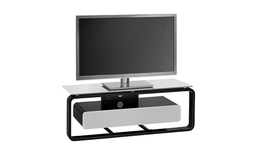 TV-Board Maja 1257 schwarz Hochglanz lackiert Glas grau