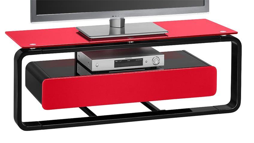 TV-Board Maja 1257 schwarz Hochglanz lackiert Glas rot
