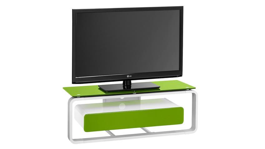 TV-Board Maja 1257 weiß Hochglanz lackiert Glas grün