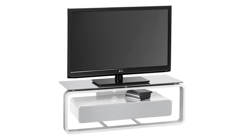 TV-Board Maja 1257 weiß Hochglanz lackiert Glas grau