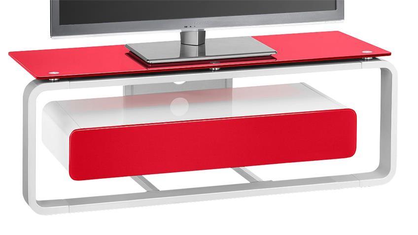 TV-Board Maja 1257 weiß Hochglanz lackiert Glas rot