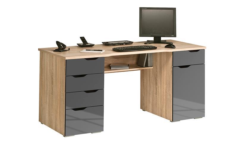 Schreibtisch Maja 9539 in Sonoma Eiche und grau Hochglanz