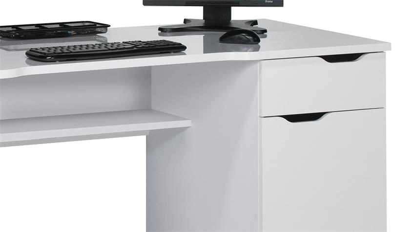 Schreibtisch Maja 9539 Computertisch in weiß Hochglanz