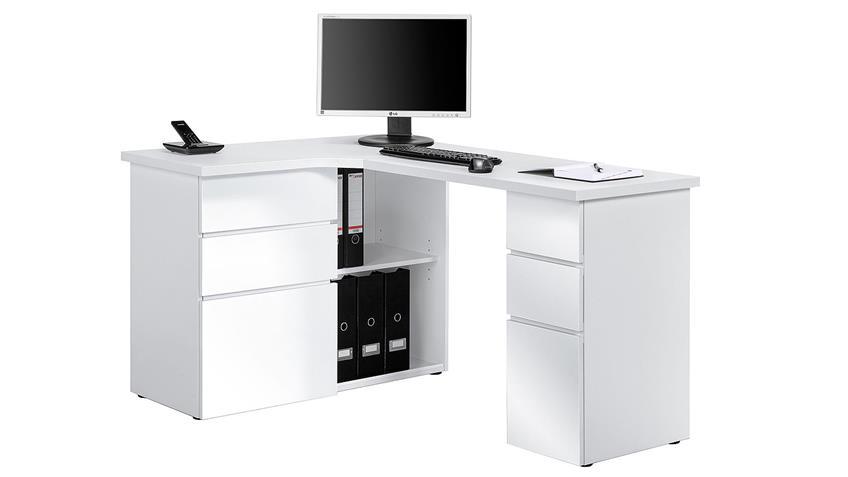 Schreibtisch Maja 9543 Computertisch weiß Hochglanz