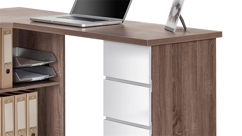 Schreibtisch Maja 9543 Eiche Trüffel weiß Hochglanz