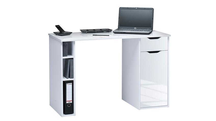 Schreibtisch Maja 4008 Computertisch weiß Hochglanz