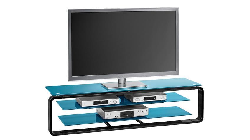 TV-Board Maja 1262 in schwarz Hochglanz und Glas petrol