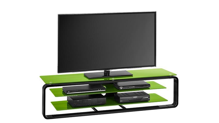 TV-Board Maja 1262 in schwarz Hochglanz und Glas grün