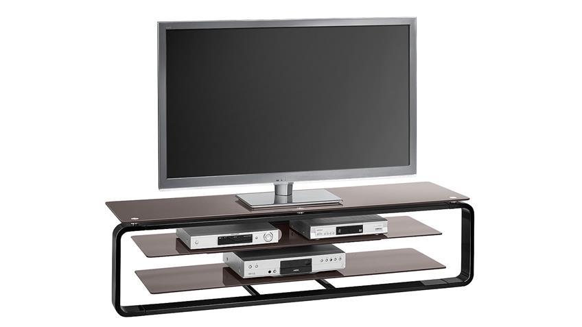 TV-Board Maja 1262 in schwarz Hochglanz und Glas lava