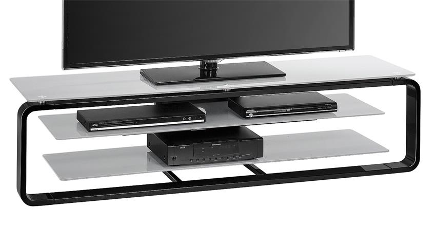 TV-Board Maja 1262 in schwarz Hochglanz und Glas grau