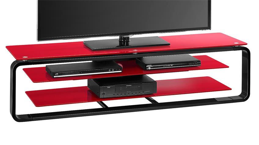 TV-Board Maja 1262 in schwarz Hochglanz und Glas rot