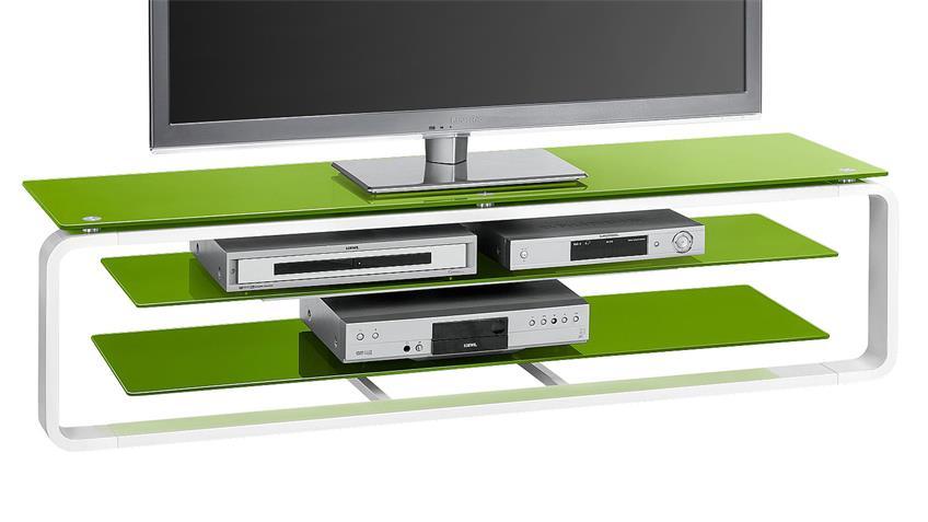 TV-Board Maja 1262 in weiß Hochglanz und Glas grün