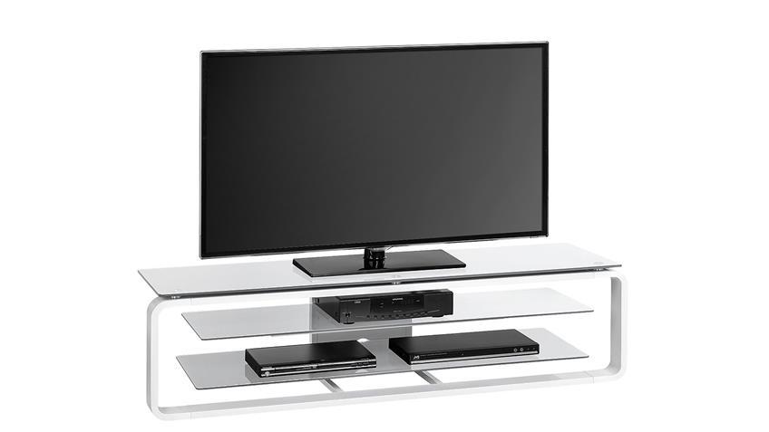 TV-Board Maja 1262 in weiß Hochglanz und Glas grau