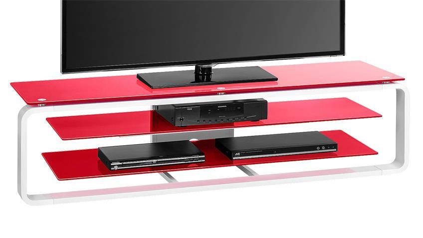 TV-Board Maja 1262 in weiß Hochglanz und Glas rot