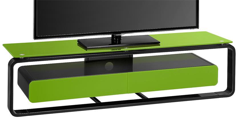 TV-Board Maja 1267 schwarz Hochglanz lackiert Glas grün