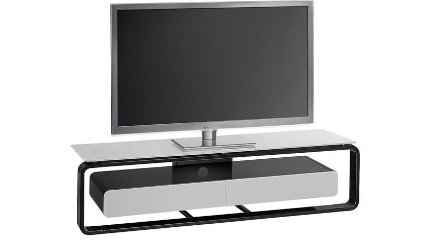 TV-Board Maja 1267 schwarz Hochglanz lackiert Glas grau