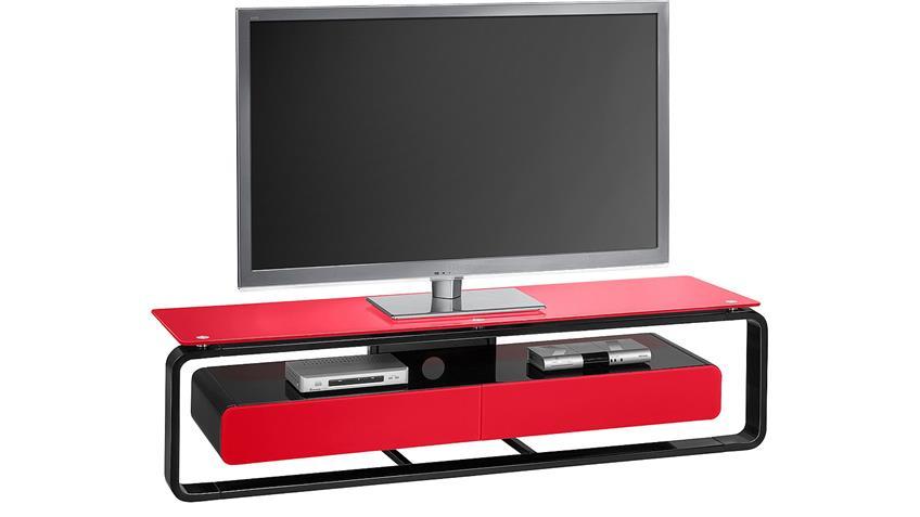 TV-Board Maja 1267 schwarz Hochglanz lackiert Glas rot
