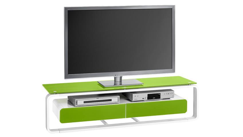 TV-Board Maja 1267 weiß Hochglanz lackiert Glas grün