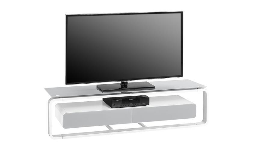 TV-Board Maja 1267 weiß Hochglanz lackiert Glas grau