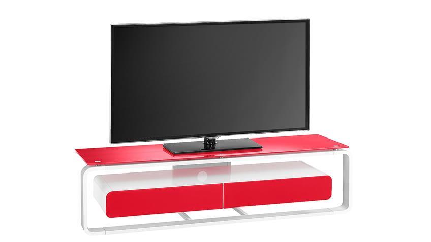 TV-Board Maja 1267 weiß Hochglanz lackiert Glas rot