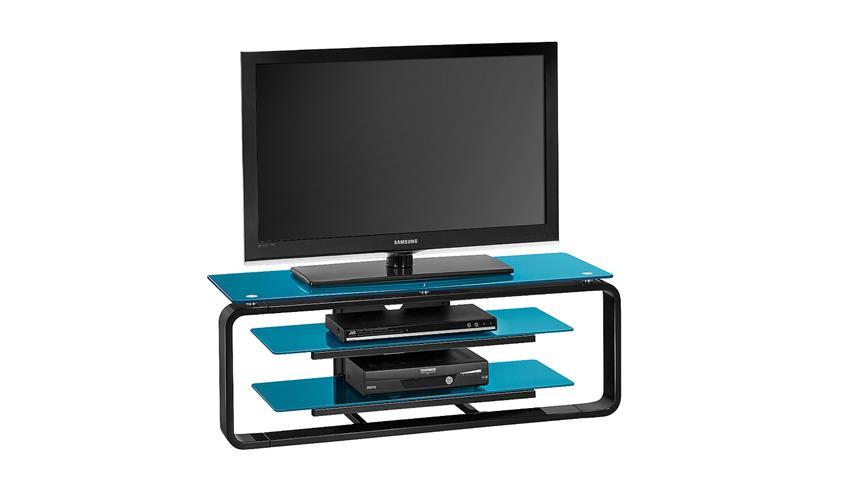 TV-Board Maja 1252 in schwarz Hochglanz und Glas petrol