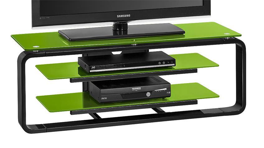 TV-Board Maja 1252 in schwarz Hochglanz und Glas grün