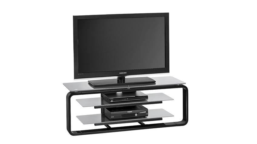 TV-Board Maja 1252 in schwarz Hochglanz und Glas grau