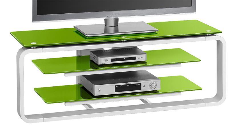 TV-Board Maja 1252 in weiß Hochglanz und Glas grün