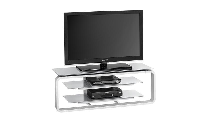 TV-Board Maja 1252 in weiß Hochglanz und Glas grau