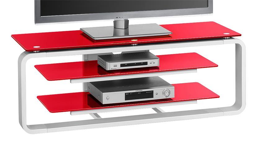 TV-Board Maja 1252 in weiß Hochglanz und Glas rot