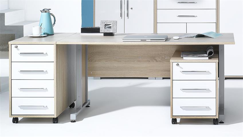 Büroprogramm SYSTEM 1202 Sonoma Eiche und weiß Hochglanz