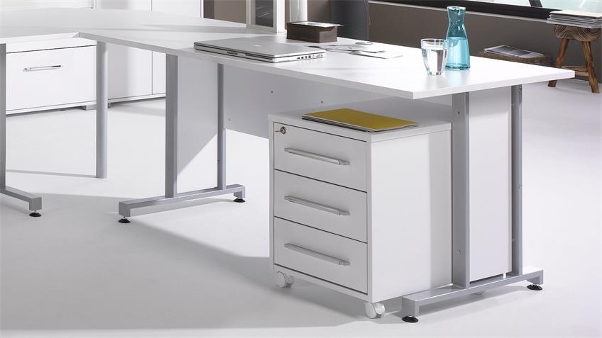 Büroprogramm SYSTEM 1208 Büro-Set in weiß Hochglanz
