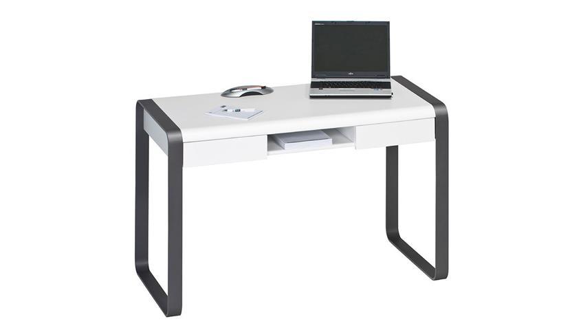 Schreibtisch Maja 5555 Metall anthrazit weiß matt lackiert