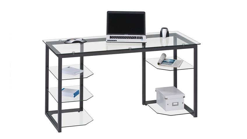 Schreibtisch Maja 9552 in Metall anthrazit und Klarglas