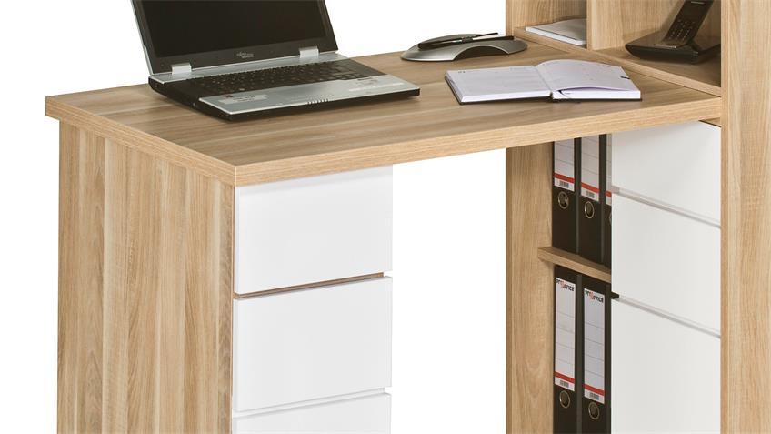 Mini Office Maja 9562 in Eiche natur und weiß Hochglanz