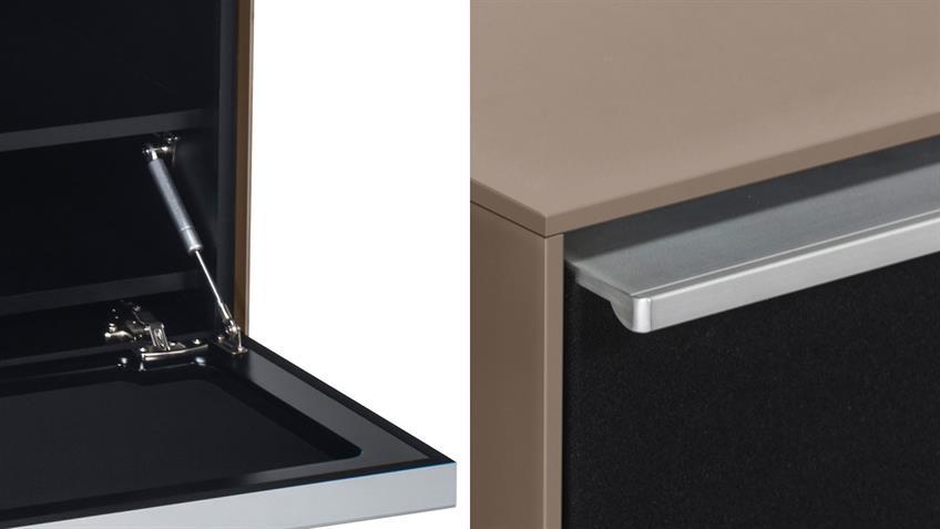 Lowboard Soundconcept MAJA Glas sand matt mit Soundsystem