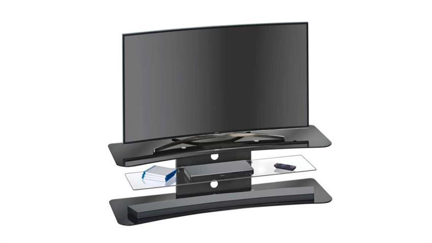 TV-Rack 1625 MAJA Schwarzglas Design-Rundung Kabelführung