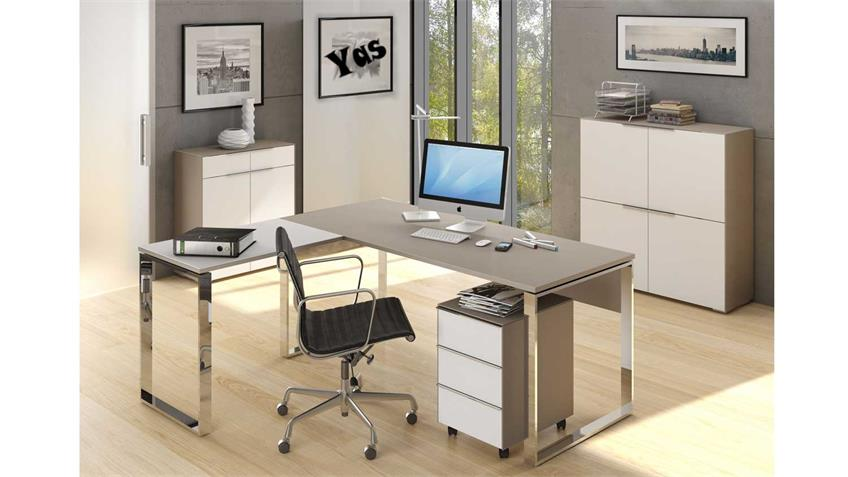 Büromöbel Set YAS 6-teilig Weißglas und Glas Sand matt