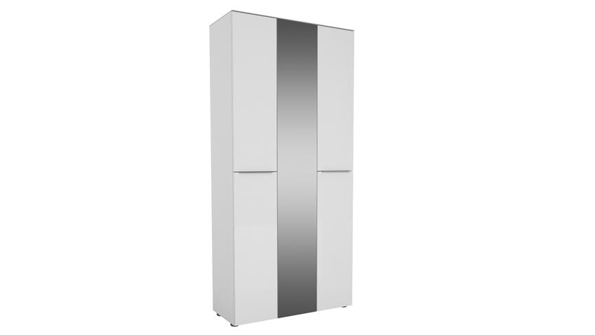 Garderobenschrank TREND weiß matt Weißglas mit Spiegel