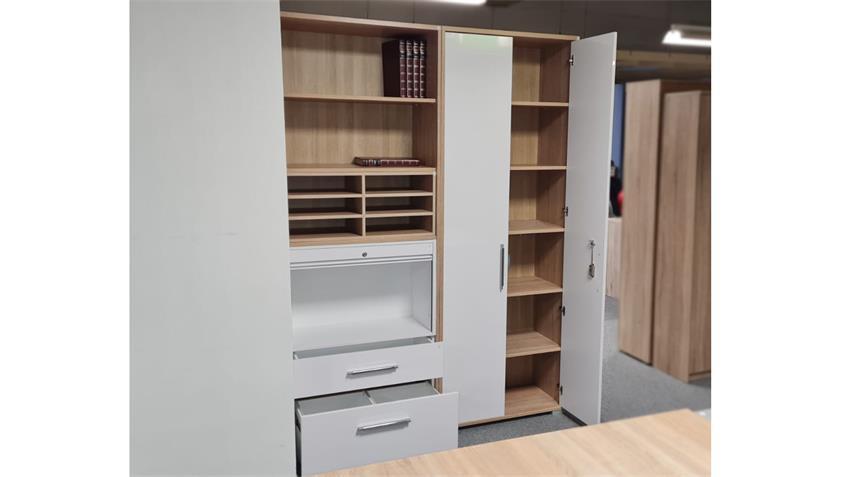 Büro-Set SYSTEM Arbeitszimmer 8-teilig Sonoma Eiche weiß